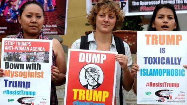 شهدت الولايات المتحدة الأمريكية احتجاجات ضد قرارات دونالد ترامب