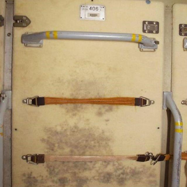 Pared de la Estación Espacial Internacional con moho