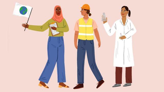 Ilustración que muestra tres mujeres profesionales