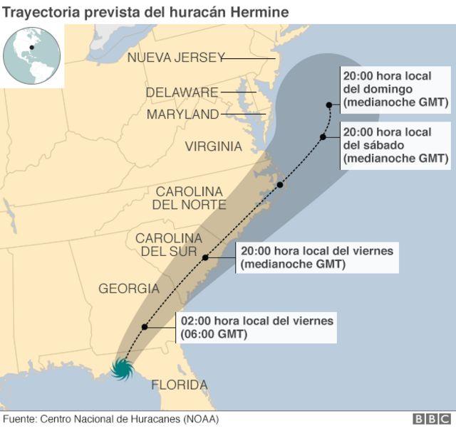 Mapa de la trayectoria prevista del huracán Hermine