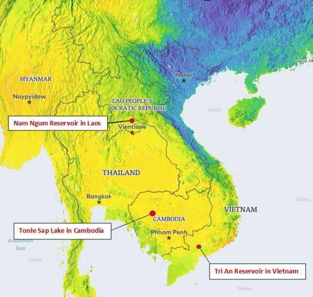 Vị trí khả thi các dự án năng lương mặt trời nổi tại ba nước Mekong từ bỏ thủy điện 17