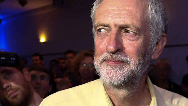 Jeremy Corbyn looks to his right