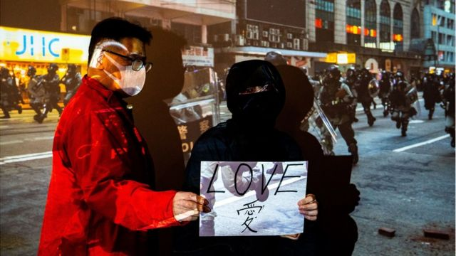 Father Mr Tsang and his daughter Alice, the protester