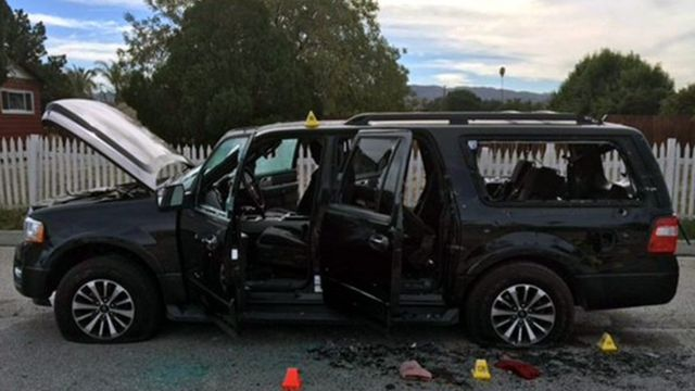 An undated handout picture made available by the San Bernardino County Sheriff on 03 December 2015 shows a vehicle at the scene of a shootout, in San Bernardino, California