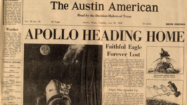 Primera plana del periódico The Austin American el 22 de julio de 1969.