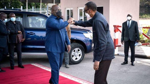 Prezida Kagame na Prezida Tshisekedi