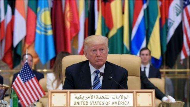 President Trump at the Arab Islamic American Summit in Riyadh in 2017