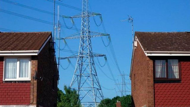 Pylon between houses