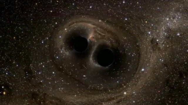 Animation of black holes colliding