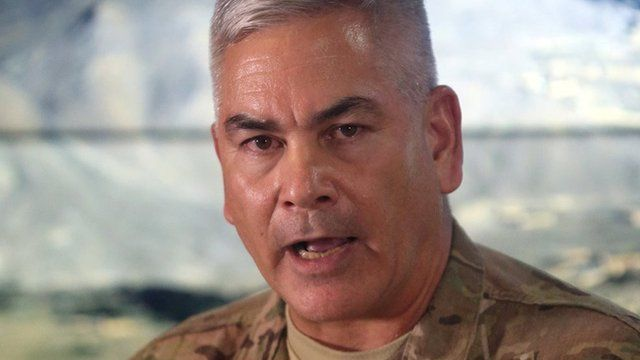 Gen John Campbell, the commander of international and US forces in Afghanistan, discusses the Kunduz hospital attack in Kabul (25 November 2015)