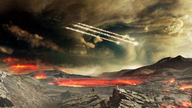 Ilustración de meteoritos bombardeando la Tierra antigua