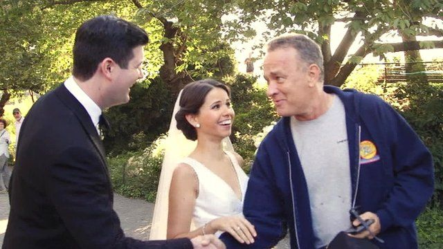 Tom Hanks meets a bride and groom in Central Park