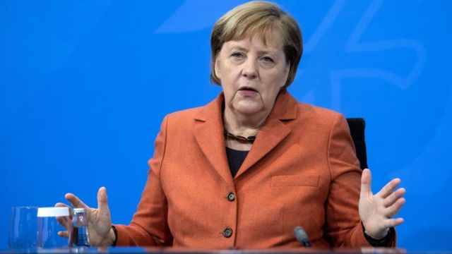 German Chancellor Angela Merkel announcing national lockdown on 13 December