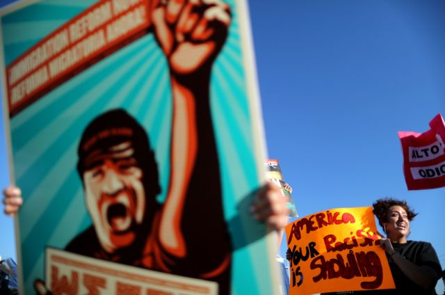 People protest outside the Immigration and Customs Enforcement (ICE) immigration detention centre in Adelanto, California