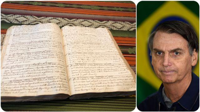 Foto del cuaderno con los registros del bautizo de Vittorio Bolzonaro, al lado de foto del candidato a la presidencia de Brasil.