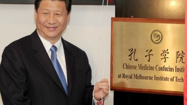 2010年6月,时任中国国家副主席的习近平澳大利亚在墨尔本皇家理工大学为澳大利亚的第一所中医孔子学院揭牌。