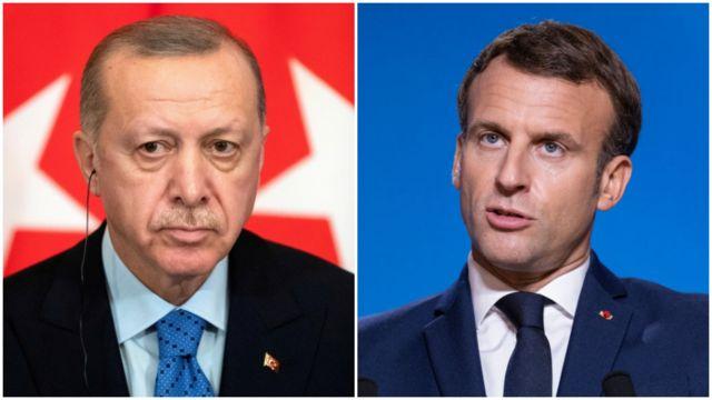 الرئيس التركي رجب طيب أردوغان (إلى اليسار) وإيمانويل ماكرون