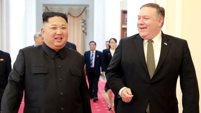 North Korean leader Kim Jong-un (L) with US Secretary of State Mike Pompeo, 7 October 2018