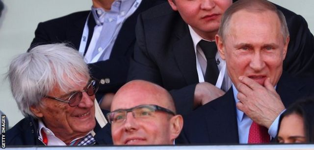 Bernie Ecclestone y el presidente ruso Vladimir Putin