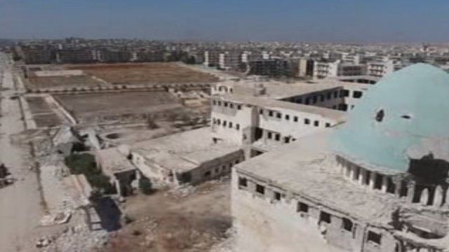 The view from atop one of the buildings in eastern Aleppo.