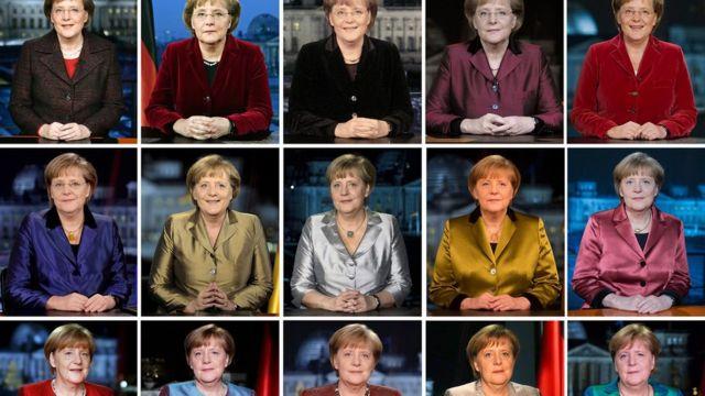 Merkel at New Year's speeches between 2005 and 2019.