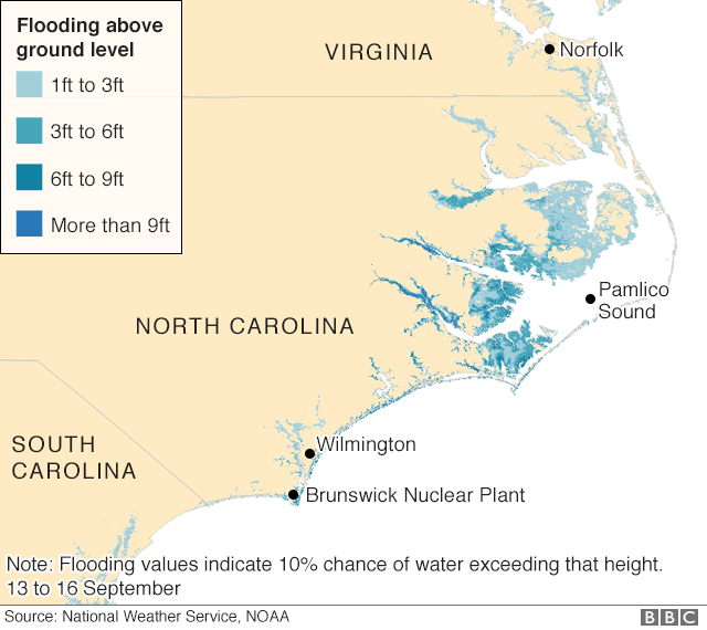 Map showing flooding forecasts following Hurricane Florence