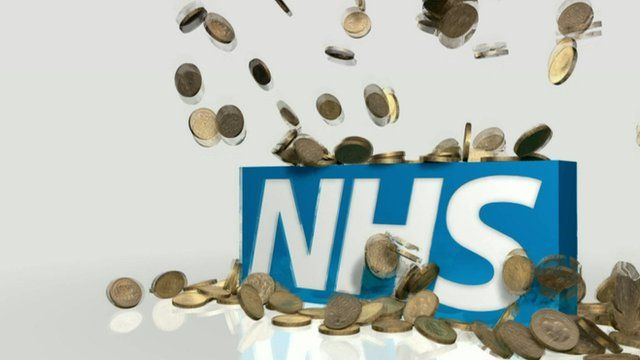 Graphic of NHS logo with coins falling