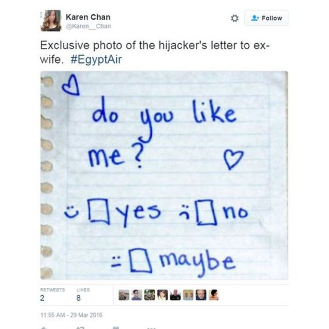 「独占写真。ハイジャック犯が元妻にあてた手紙。僕が好き?」