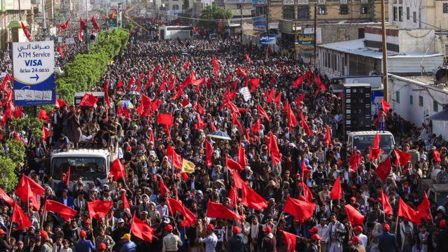 تجمع حامیان حوثیها در صنعا در پائیز ۱۳۹۷ به مناسبت چهارمین سالروز تصرف پایتخت