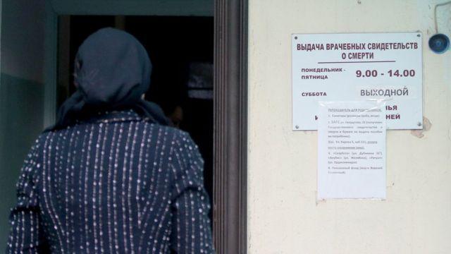 У входа в морг на территории городской больницы №1, Керчь