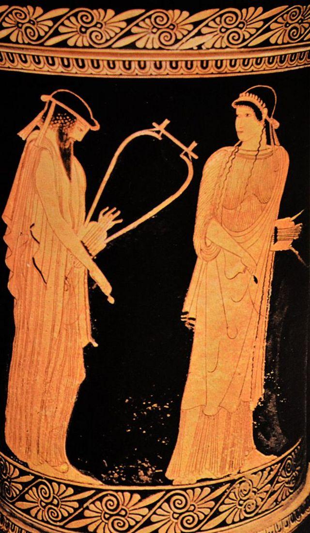 Poetas Alceo e Safo en uma cerâmica da Grécia Antiga