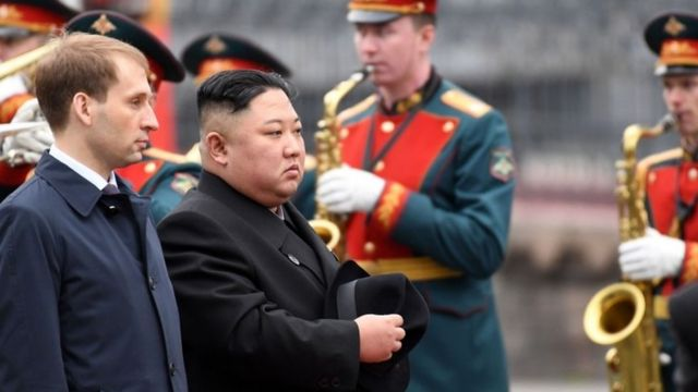 Kim Jong-un attends a welcoming ceremony upon arrival in Vladivostok