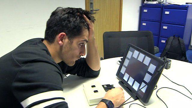 Benjamin Zand undergoing cognitive test