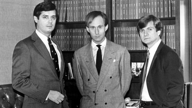 Roger, centre, pictured in 1985 with Paul Manafort, left, and Lee Atwater