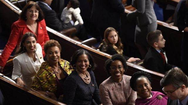 Representatives Alexandria Ocasio-Cortez(2ndL), a Democrat from New York, from left, Barbara Lee, a Democrat from California, Jahana Hayes, a Democrat from Connecticut, Lauren Underwood, a Democrat from Illinois, and Sheila Jackson-Lee, a Democrat from Texas