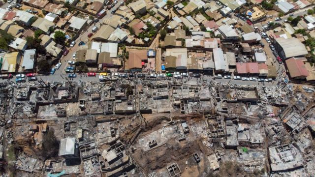 Imagen aérea de la zona quemada en Valparaíso.