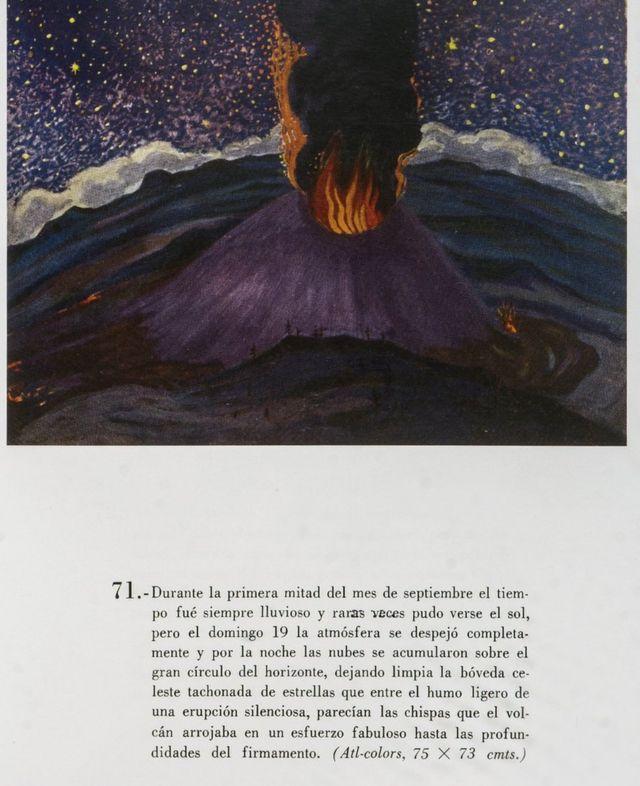 Pintura del Paricutin en la noche.