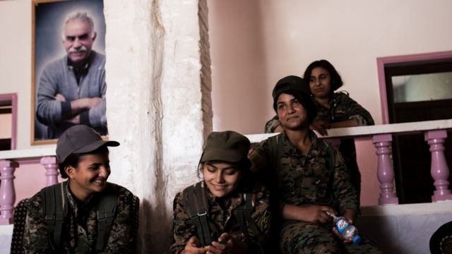 In Hasaka / Syria Kurdish and Arab young women who have joined the YPG are living on a training ground. In addition to be teached of the Öcalan ideology they have daily training program.