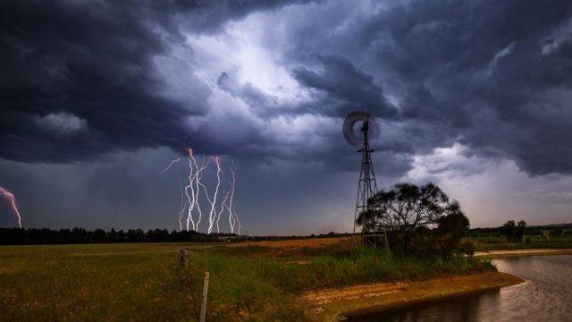 Rayos durante una tormenta.