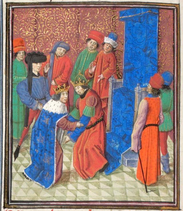 El emperador Manuel I Comneno se reúne con el rey Amalarico I de Jerusalén. Miniatura del libro Historia de William of Tyre, años 1460