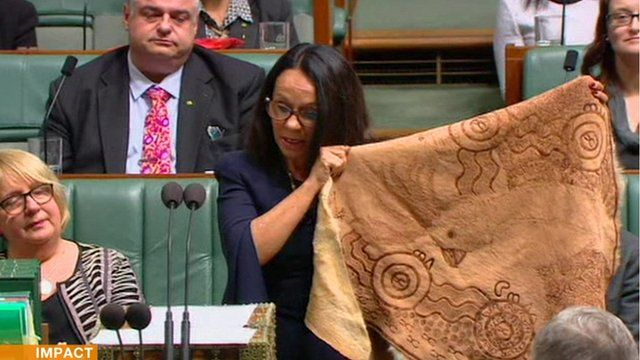 Linda Burney Australian MP with a traditional Aboriginal cloak