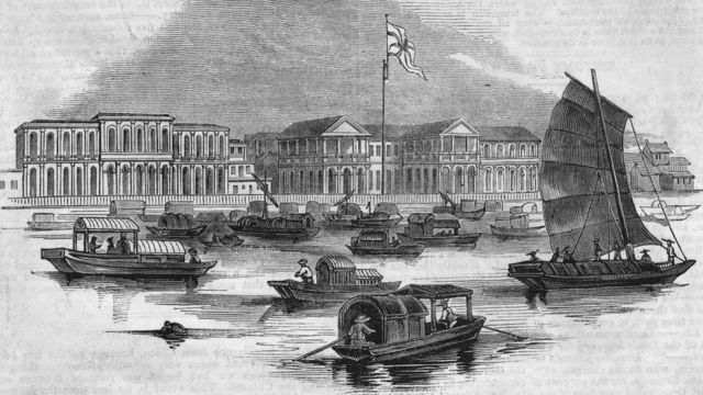 The British factory in the Thirteen Factories area of Guangzhou in 1840