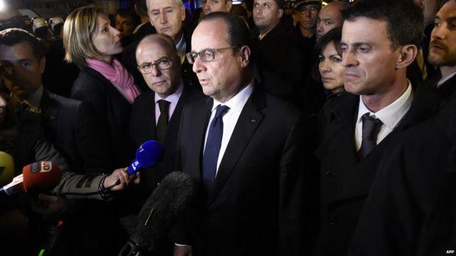 French President Francois Hollande at concert hall