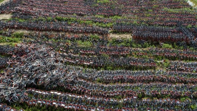 A pile of abandoned bikes in China