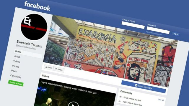 """Capture d'écran de la page Facebook """"Exarcheia Tourism""""."""
