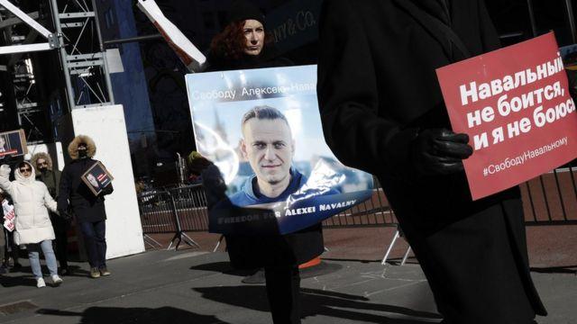 Акция протеста сторонников Навального проходила и в Нью-Йорке
