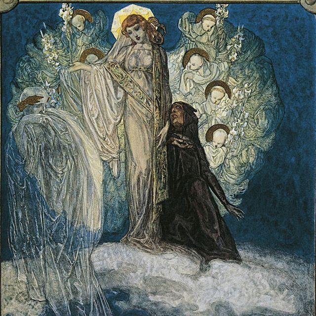 """El purgatorio de """"La divina comedia"""" ilustrado por Franz von Bayros."""