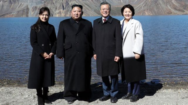 Ri Sol-ju, left, often accompanies Kim Jong-un at important events such as this meeting with South Korean President Moon Jae-in and his wife, Kim Jung-sook.