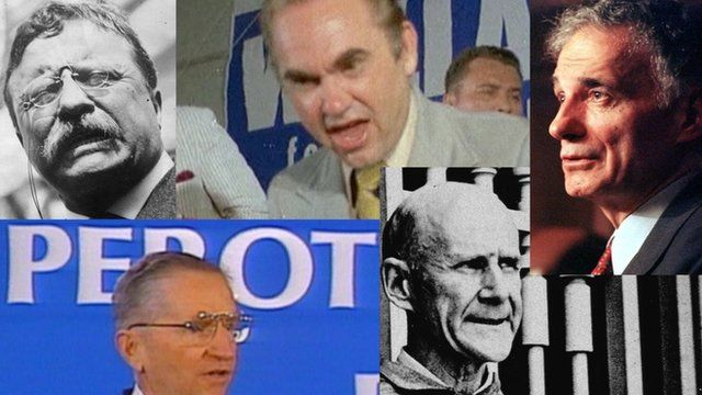 A collage of images of Teddy Roosevelt, Ross Perot, George Wallace, Eugene V. Debs and Ralph Nader