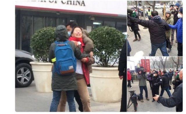 私服警官が裁判所前から活動家や記者を強制排除する様子をBBC取材チームが目撃した(22日、北京)